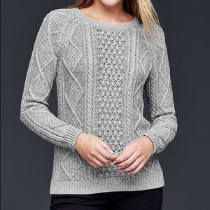 GAP Cable Knit Textured Grey Pullover Sweater